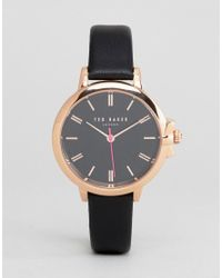 9534ab710879 Lyst - Ted Baker Te50267007 Ruth Leather Watch In Black 36mm in Black