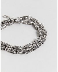 Reclaimed (vintage) - Metallic Inspired Double Wrap Chain Bracelet In Silver Exclusive To Asos for Men - Lyst