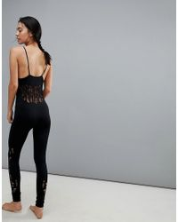 New Look - Black Ladder Cut Out Seam Free Jumpsuit - Lyst