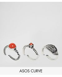 ASOS - Metallic Exclusive Pack Of 3 Stone Detail Rings - Lyst