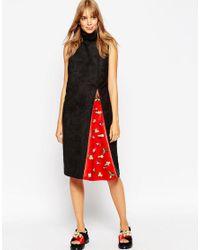 ASOS | Blue A V Robertson For Funnel Neck Dress With Embellished Insert | Lyst