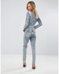 G-Star RAW - Blue Lynn Jet Suit Bleached Denim Jumpsuit - Lyst