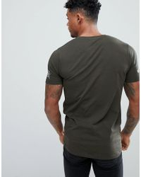 ASOS - Green Design Muscle T-shirt In Khaki With Sleeve Print for Men - Lyst