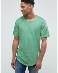 Only & Sons | Green T-shirt In Oil Wash for Men | Lyst
