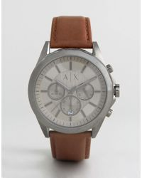 Armani Exchange - Brown Ax2605 Chronograph Leather Watch Exclusive To Asos for Men - Lyst
