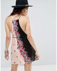 Free People - Black It's A Kinch Printed Slip Dress - Lyst