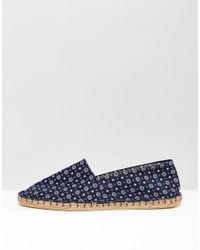 ASOS - Blue Slip On Espadrilles In Navy With Floral Print for Men - Lyst