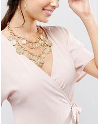 ALDO | Metallic Multirow Coin Necklace | Lyst