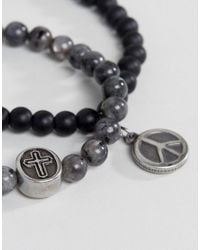 Seven London - Gray Black & Grey Beaded Bracelet In 2 Pack for Men - Lyst