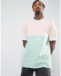 Men's Pink Oversized T-shirt In Pastel Color Block