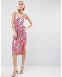 d095b3238f4d Asos Ruched Slip Midi Dress In Metallic Fabric in Pink - Lyst