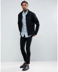 ASOS - Slim Fit Viscose Shirt In Blue for Men - Lyst