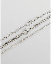 Stradivarius - Metallic Set Of 3 Necklaces In Silver for Men - Lyst