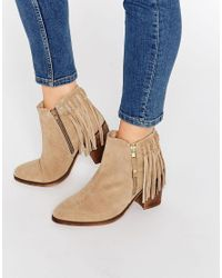ASOS Natural Rhymes Suede Fringe Ankle Boots