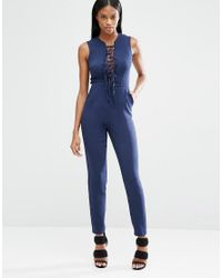 Lavish Alice - Blue Plunge Tie Strap & Side Detail Jumpsuit - Lyst