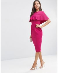 ASOS - Red Wiggle Dress With Frill Sleeve Detail - Lyst