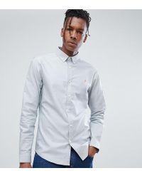 Farah Sansfer Skinny Fit Oxford Shirt In Blue for men
