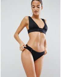 ASOS - Black Mix And Match Deep Band High Triangle Plunge Bikini Top With Eyelets - Lyst