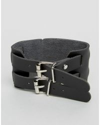Monki | Black Double Buckle Bracelet | Lyst