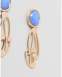 ASOS - Metallic Abstract Cut Out Stone Detail Earrings - Lyst