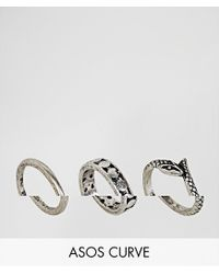 ASOS Metallic Exclusive Pack Of 3 Engraved And Snake Rings