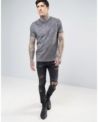 ASOS - Gray T-shirt In Grey Wash for Men - Lyst