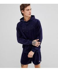 53f5df045538 Fila Black Line Velour Hoodie With Embroidered Logo in Blue for Men ...