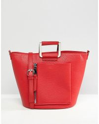 Faith - Red Faux Leather Grab Bag - Lyst
