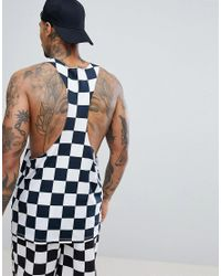 ASOS - Blue Extreme Racer Back Vest With Checkerboard Print Co-ord for Men - Lyst