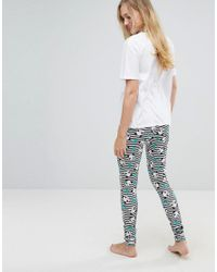 ASOS - White Panda-monium Legging And Tee Pajama Set - Lyst