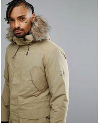 Jack & Jones - Natural Tech Arctic Parka With Faux Fur Hood for Men - Lyst