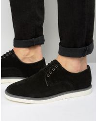 Dune - Black Blow Out Suede Derby Shoes for Men - Lyst
