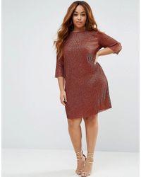 ASOS | Brown Bronze Dolman Sleeve Mini Dress | Lyst