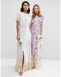 ASOS - Green Wedding Lace Trim Maxi Dress - Lyst