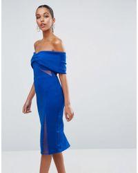 ASOS - Blue Asos Bardot Dobby Mesh Cut Out Midi Bodycon Dress - Lyst