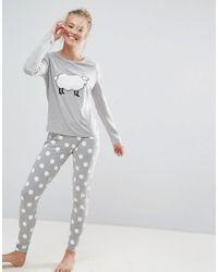 ASOS - Gray Fluffy Sheep Long Sleeve Tee & Legging Set - Lyst