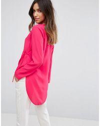 ASOS - Pink Clean Wrap Dip Back Top - Lyst