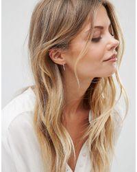 Pieces - Metallic Silver Plated Hoop Earrings 2 Pack - Lyst