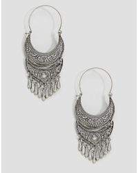 Glamorous - Metallic Ornate Festival Hoop Earrings - Lyst