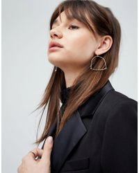 ASOS - Metallic Hammered Bar Hoop Earrings - Lyst