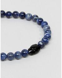 Simon Carter - Sodalite Beaded Bracelet In Blue With Jet Swarovski Crystals for Men - Lyst