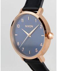 Nixon - Arrow Black Leather Watch for Men - Lyst