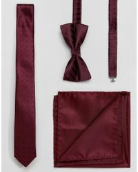Jack & Jones | Red Tie And Pocket Square And Bow Tie Gift Set for Men | Lyst