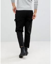 AllSaints - Black Slim Fit Cropped Chino for Men - Lyst