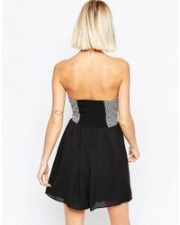 Greylin - Black Embroidered Zip Front Mini Dress - Lyst