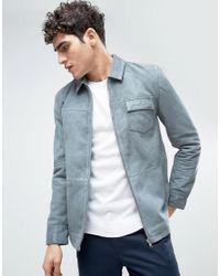 Bellfield - Gray Suede Overshirt for Men - Lyst