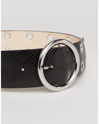Glamorous - Black Eyelet Round Buckle Waist Belt - Lyst