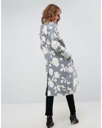 ASOS | Multicolor Oversized Coat With Jaquard Print | Lyst