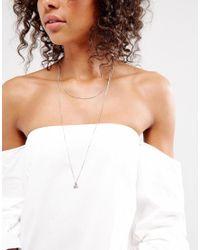 Pieces - Metallic Multi Row Necklace - Lyst