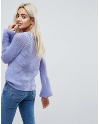 Vero Moda - Blue V Neck Sweater With Balloon Sleeve - Lyst